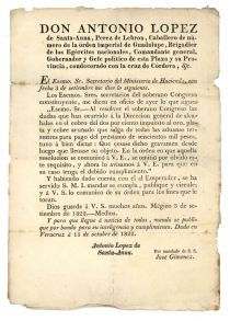 Printed Document Signed In Type By Santa Anna Days Before The Taking of Veracruz And  His Promotion To The Rank Of Brigadier General