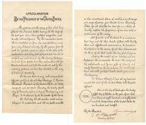 1887 Thanksgiving Day Proclamation Signed By President Grover Cleveland