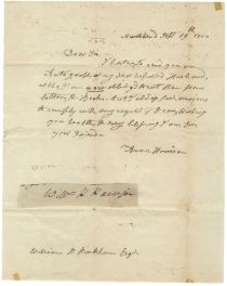 Anna Harrison Sends a Signature of William Henry Harrison to an Autograph Seeker